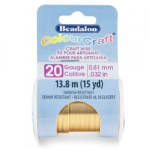 Beadalon® ColourCraft Wire 20 Gauge (0.032 in .81mm) Tarnish Resistant Brass Light 13.8m (15yd)