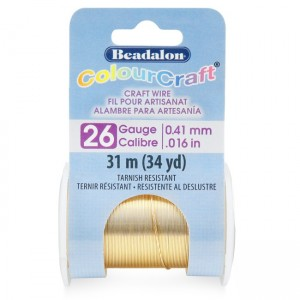 Beadalon® ColourCraft Wire 26 Gauge (0.016 in .41mm) Tarnish Resistant Brass Light 31m (34yd)