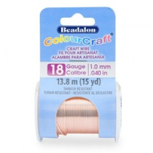 Beadalon® ColourCraft Wire 18 Gauge (1.02mm 0.040in) Tarnish Resistant Rose Gold Plated 9.1m (10yd)