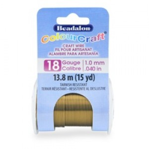 Beadalon® ColourCraft Wire 18 Gauge (1.02mm 0.040in) Tarnish Resistant Vintage Bronze 9.1m (10yd)