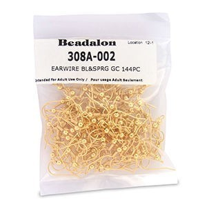 Beadalon® Earwire Bl&Sprg Gold Color 144pc