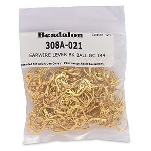 Beadalon® Earwire Lever Bk Ball Gold Color 144