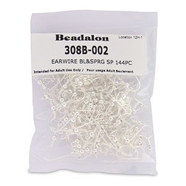 Beadalon® Earwire Bl&Sprg Silver Plate 144pc