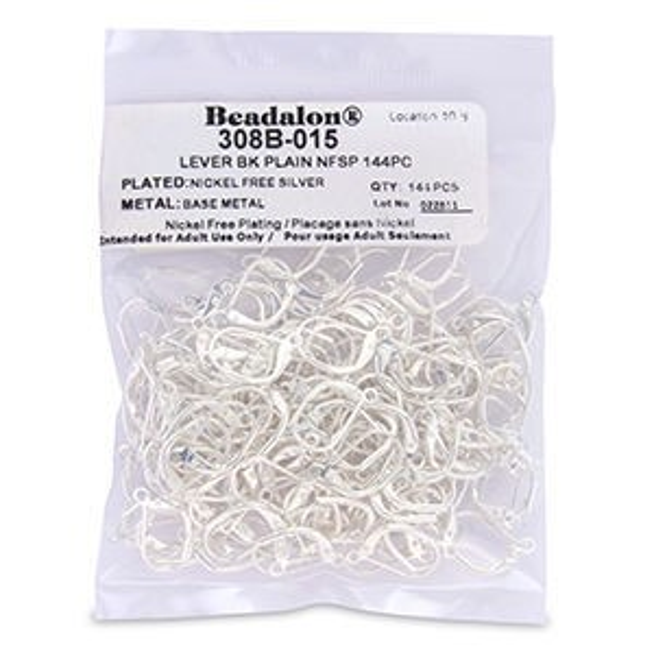Beadalon® Earwire Lever Bk Plain Silver Plate 144