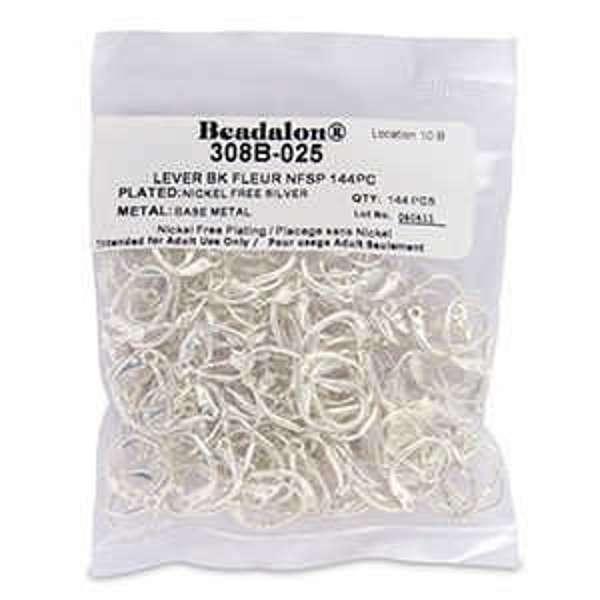 Beadalon® Earwire Lever Bk Fleur Silver Plate 144