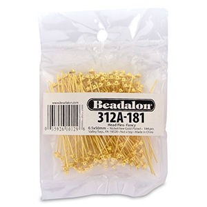 Beadalon® Head Pin 2.0 Inch Fancy Gold Color 144p