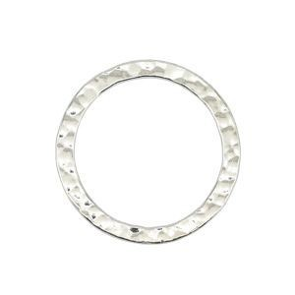Beadalon® Solid Ring 24mm Txrd Silver Plate 5pc