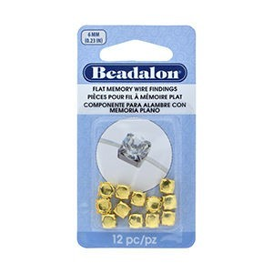 Beadalon® Flat Memory Wire Finding Round Cup 6 Mm (.236 In) Fits 6mm Stone 5.5 - 6mm Beads Gold Color 12 Pc