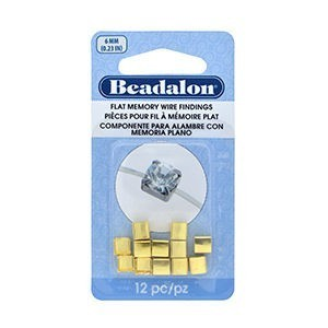 Beadalon® Flat Memory Wire Finding Square Cup 6 Mm (.236 In) Fits 6mm Stone 5.5 - 6mm Bead Gold Color 12 Pc