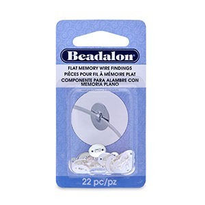 Beadalon® Flat Memory Wire Finding Oval 2-Hole 0.27 in X 0.35 in (7mm X 9 Mm) Silver Plated 22 Pc
