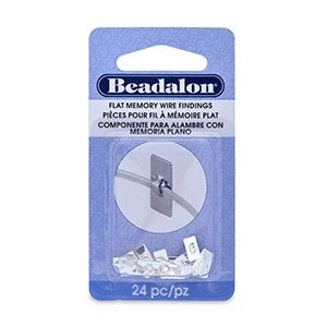 Beadalon® Flat Memory Wire Finding Rectangle 0.31 in X 0.15 in (8 Mm X 4 Mm) Silver Plated 24 Pc