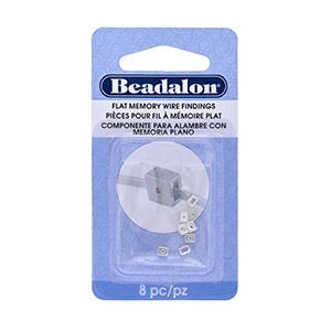 Beadalon® Flat Memory Wire Finding with Head Pin Holder 0.12 in X 0.07 in X 0.11 in (3.25 Mm X 2 Mm X 3 Mm) Silver Plated 8 Pc