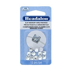 Beadalon® Flat Memory Wire Finding Round Cup 6 Mm (.236 In) Fits 6mm Stone 5.5 - 6mm Bead Silver Plated 12 Pc
