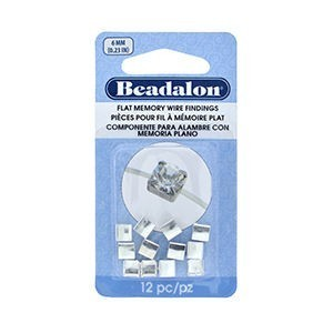 Beadalon® Flat Memory Wire Finding Square Cup 6 Mm (.236 In) Fits 6mm Stone 5.5 - 6mm Bead Silver Plated 12 Pc