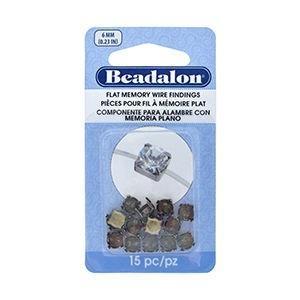Beadalon® Flat Memory Wire Finding Round Cup 6 Mm (.236 In) Fits 6mm Stone 5.5 - 6mm Bead Raw Brass 15 Pc