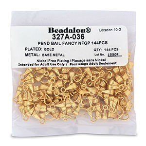 Beadalon® Pend Bail Fancy Nickel-Free Gold Plate 144pcs