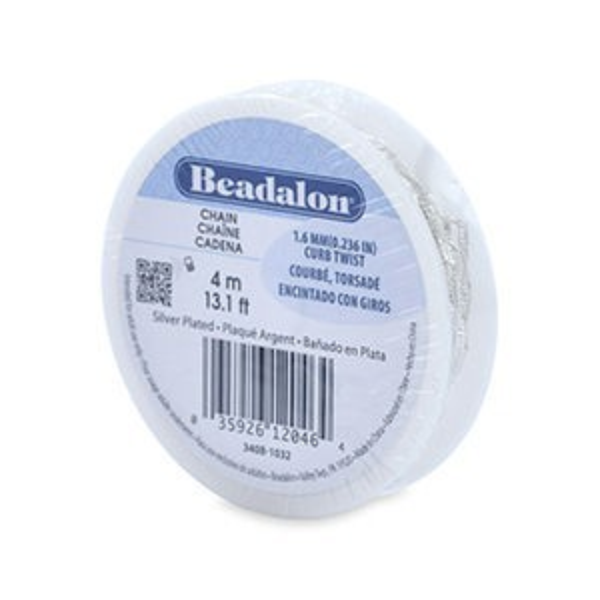 Beadalon® Chain 1.6 Mm (.236 In) Curb Twist Silver Plated 4 M (13.1 Ft)