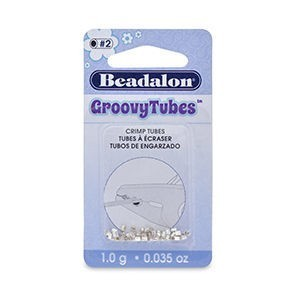 Beadalon® Crimp Tubes Groovy 1.8mm (.070in) Silver Plated 1.0g (.035oz) Apx 60pc