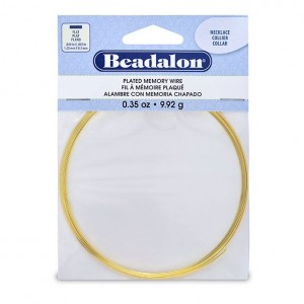 Beadalon® Memory Wire Flat Necklace Gold Color 0.35 oz (1g) apx 7 coils