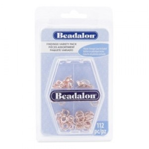 Beadalon® Findings Variety Pack 73 Jump Rings 8 Spring Rings 23 Tags Rose Gold Color 112pc