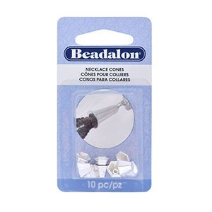 Beadalon® Necklace Cone Hexagon Length 6 Mm (.236 In) Hole Size 1.0mm (.039 in ) Silver Plated 10 Pc