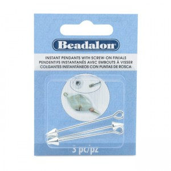 Beadalon® Instant Pendant 6x7.5mm Cone Screw-on Finials 36.6mm (1.44in) Pin diameter 1.6mm (0.060in) Silver Plated E-coat 3p