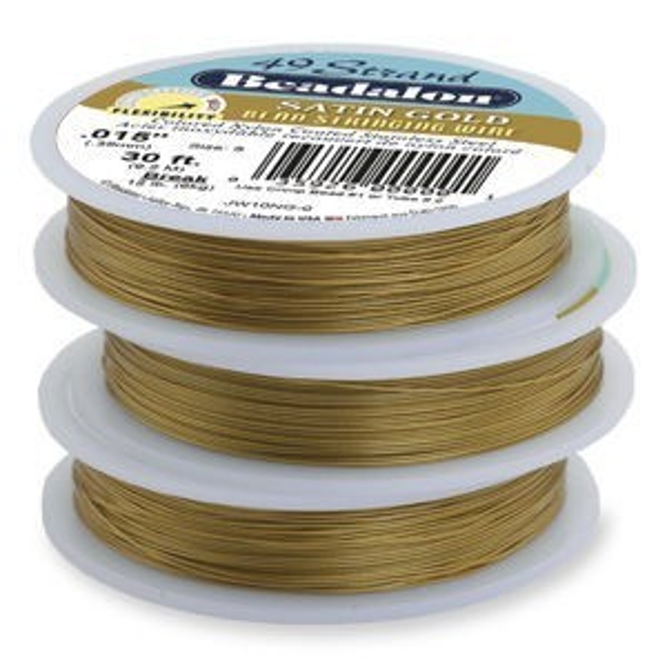 Beadalon® 49 Strand Wire .024 Inch Satin Gold 30 Feet
