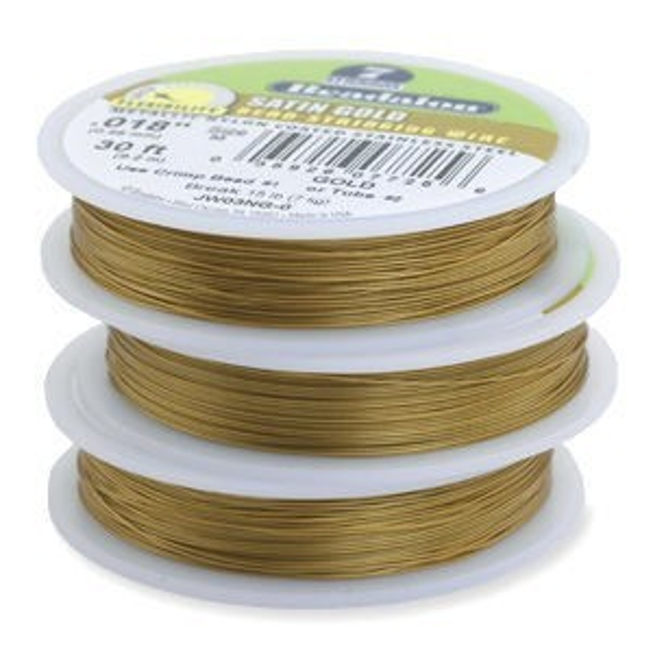 Beadalon® 7 Strand Wire .018 Inch Satin Gold 30 Feet