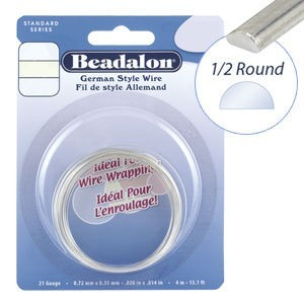 Beadalon® Half Round Wire Nickel-Free Silver Plated 20ga 3m
