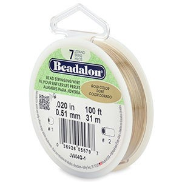 Beadalon® 7 Strand Wire .020 Inch Gold Color 100ft
