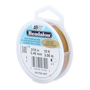 Beadalon® 49 Strand Stainless Steel Bead Stringing Wire .018in (0.46mm) Satin Gold 10ft (3.1m)