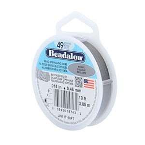 Beadalon® 49 Strand Stainless Steel Bead Stringing Wire .018in (0.46mm) Bright 10ft (3.1m)