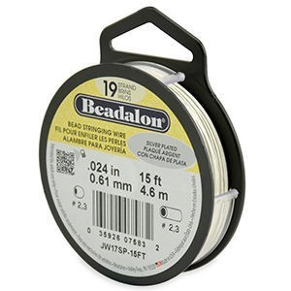 Beadalon® 19 Strand Wire .024 Inch Silver Plate 15ft