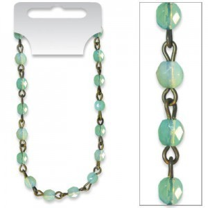 Beadlinx™ Dp 24 Inch Card Green Opal Fire Polished 4mm on Brass Ox