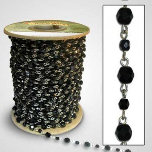 Beadlinx™ Beaded Chain Jet Black Fire Polished 4mm and 6mm on Silver Plate