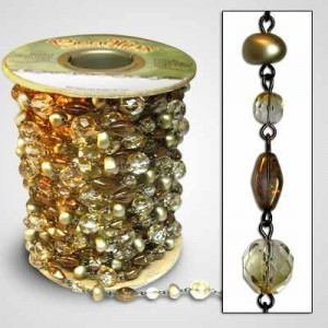 Beadlinx™ Beaded Chain Gilded Glass on Gunmetal