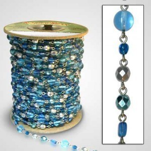 Beadlinx™ Beaded Chain Glacier Blue on Silver Plate
