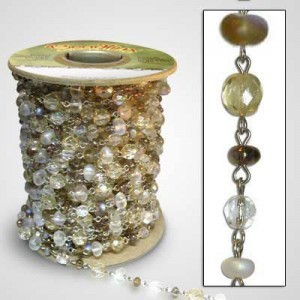 Beadlinx™ Beaded Chain Champagne on Ice on Silver Plate