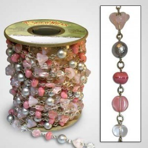 Beadlinx™ Beaded Chain Pretty in Pink on Silver Plate