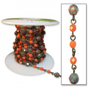 Beadlinx™ Beaded Chain Coral Corral on Brass