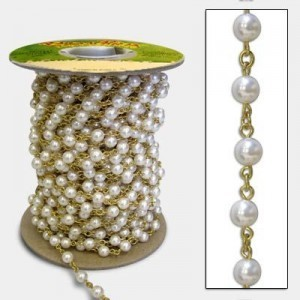 Beadlinx™ Beaded Chain Swarovski® 5810 6mm White Pearl W/Jr on Gold