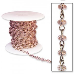 Beadlinx™ Beaded Chain Pink Puffy Rondelle 3x5mm on Antiqued Gold