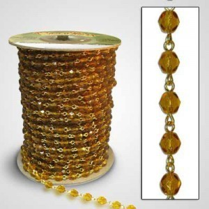 Beadlinx™ Beaded Chain Topaz Fire Polished 6mm on Gold Plate