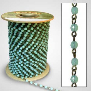 Beadlinx™ Beaded Chain Green Opal Fire Polished 4mm on Brass Ox