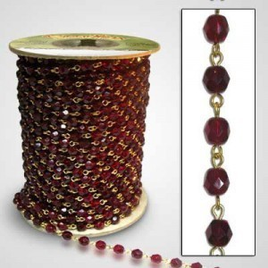 Beadlinx™ Beaded Chain Garnet Fire Polished 6mm on Gold Plate