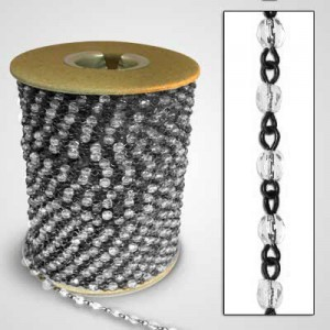 Beadlinx™ Beaded Chain Crystal Fire Polished 4mm on Black Finish