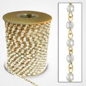 Beadlinx™ Beaded Chain Crystal Fire Polished 4mm on Gold Plate