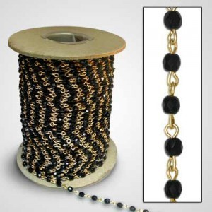Beadlinx™ Beaded Chain Jet Fire Polished 4mm on Gold Plate