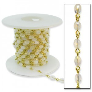 Beadlinx™ Beaded Chain Milky White Fire Polished Oval 6x4mm on Gold Plate