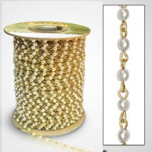Beadlinx™ Beaded Chain White Glass Pearl 4mm on Gold Plate